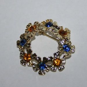 Vintage gold yellow and blue flower brooch